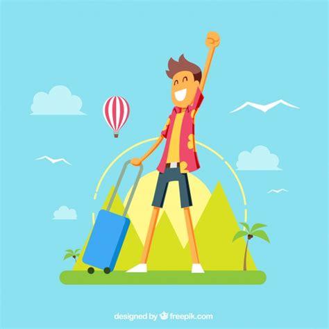 flat design wallpaper vector flat design happy tourist background vector free download