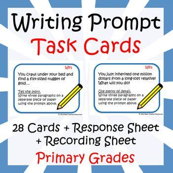 prompt cards template free 28 task cards with writing prompts for primary