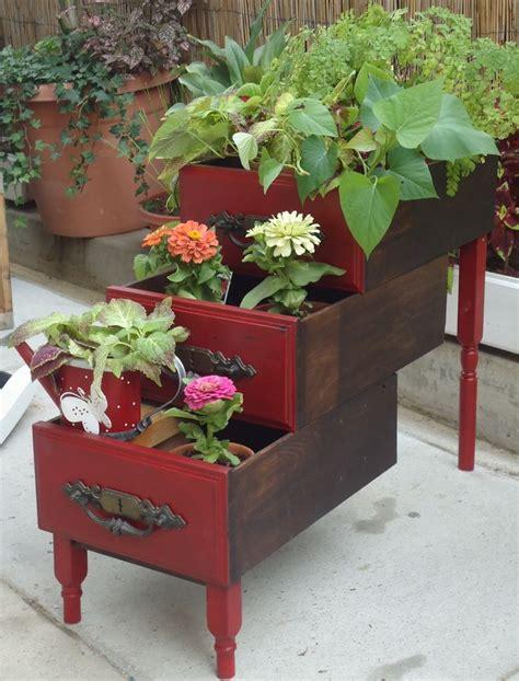 desk  dresser drawers repurposed  storage  container garden planter  front porch home
