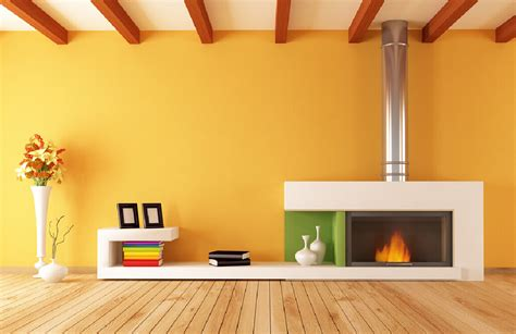orange interior design brick wall and fireplace in living room interior design