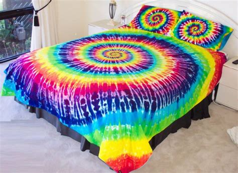 tie dye bed set scarf bedding hippie rainbow tie dye wheretoget