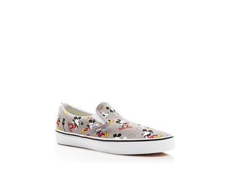 mickey sneakers lyst vans classic mickey mouse slip on sneakers in gray