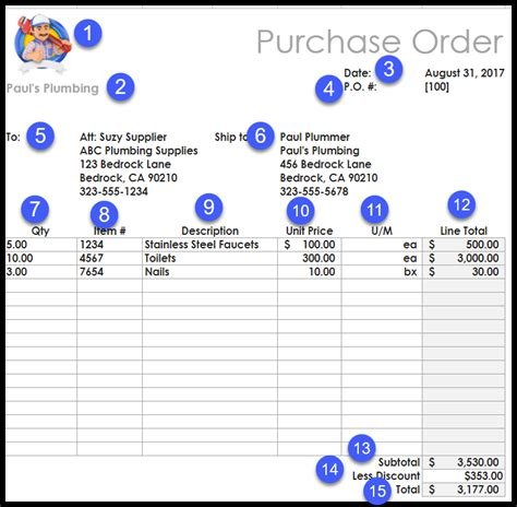 editable excel purchase order template