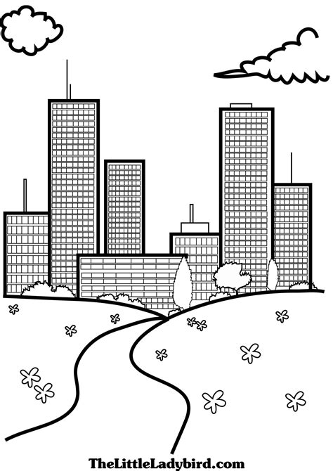 coloring book page of a city free views coloring pages thelittleladybird com