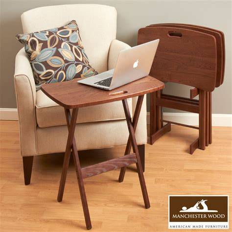 Tv Tray Desk by Portable Folding Tray Table Desk Set Of 4 By Manchester Wood Traditional Tv Trays Boston
