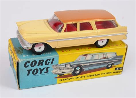 toys for cars plymouth two corgi toys cars 219 plymouth sports suburban station