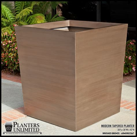 modern tapered fiberglass commercial planter 36in l x 36in