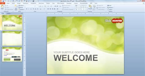 Free Green Bokeh Powerpoint Template Free Powerpoint Templates Slidehunter Com Slide Template Powerpoint 2010