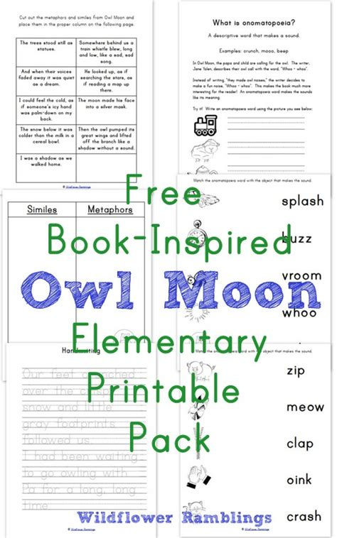 owl moon book inspired elementary printables