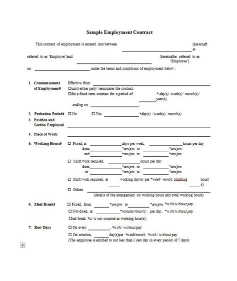 Sle Employment Agreement Template 28 Images Work Contract Template Best Resumes Termination Sle Will Template