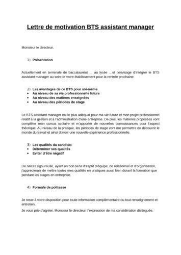 Intégrer Une école Lettre De Motivation Lettre De Motivation Bts Assistant Manager Employment Application