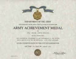 army achievement medal certificate template click on certificate to enlarge