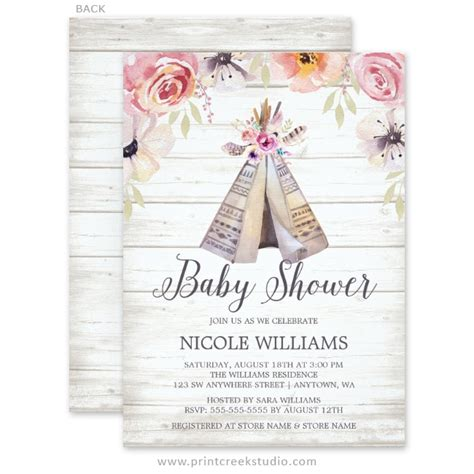 Awesome Rustic Christmas Wedding Invitations #4: Rustic-boho-tribal-teepee-girl-baby-shower-invitations.jpg
