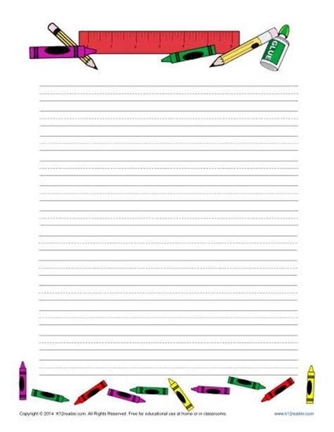 themed writing paper template school printable lined writing paper
