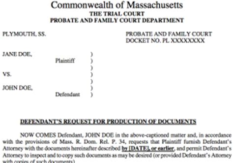 Discovery In Massachusetts Divorce Document Templates Request For Production Of Documents Template