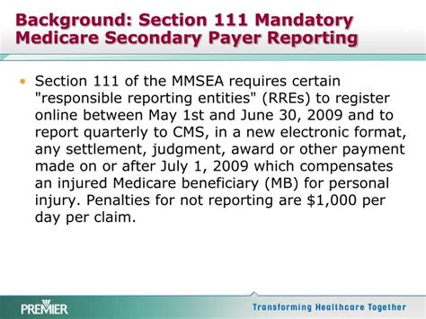 section 111 mandatory reporting ppt medicare secondary payer rules impact of section