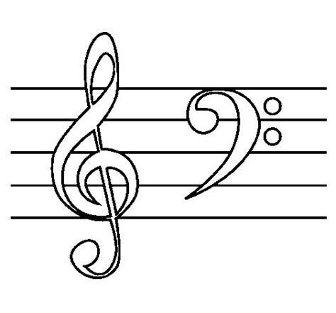 treble and bass clefs coloring page coloringcrew com