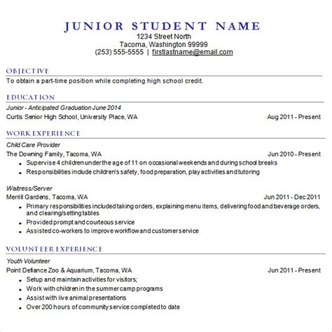 Sle High School Resume by 11400 High School Resume Template For College Application