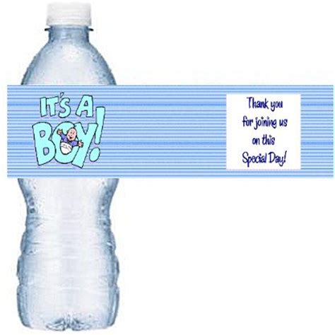 Water Bottle Labels For Baby Shower Template Free by Blue Baby Water Bottle Labels Baby Shower Favors 50