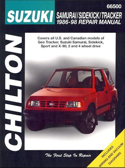 free auto repair manuals 1998 suzuki sidekick regenerative braking suzuki samurai sidekick geo tracker repair manual 1986 1998