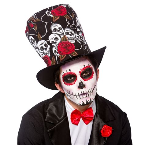 day of the dead top hat mens ladies halloween fancy dress