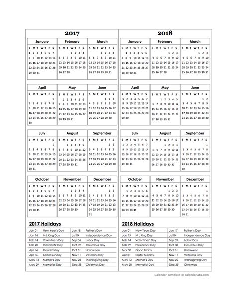 calendar template year two year calendar template 2017 and 2018 free printable