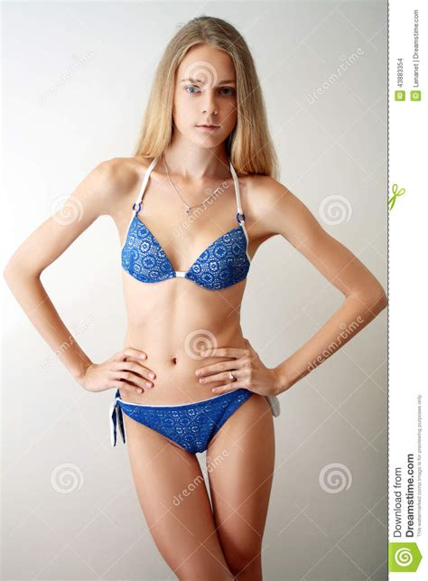 tween models slip girl model posing stock photo image 43883354
