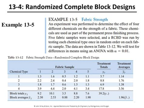 block design experiment exles 13 design and analysis of single factor experiments ppt