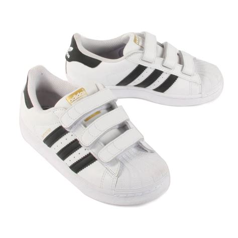 superstar foundation black velcro trainers black adidas shoes