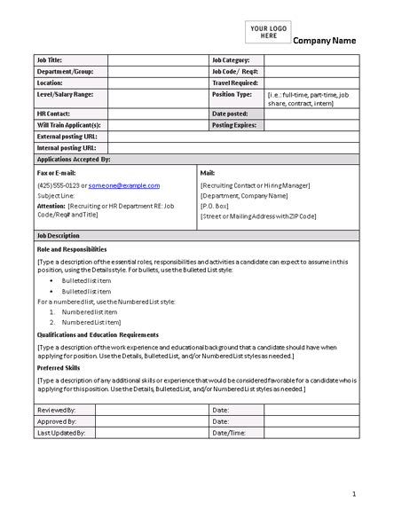 layout for job description blank and general office com