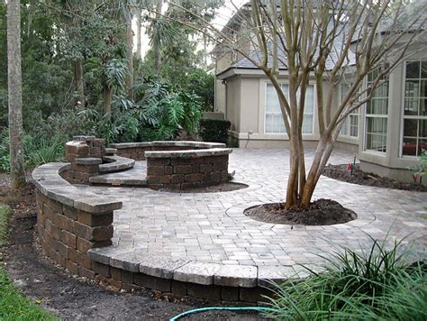 Paver Patio With Retaining Wall Patio Seating Ideas Brick Paver Patio Custom Firepit Retaining Wall Doors For