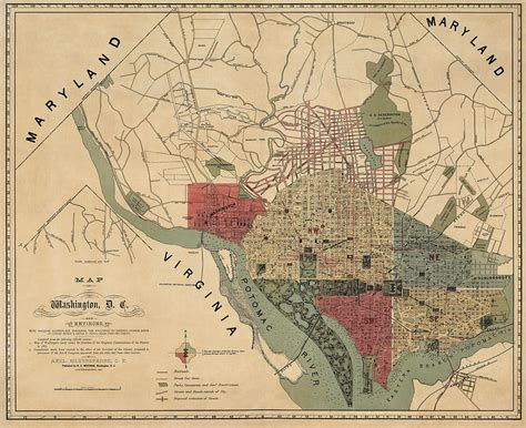 washington dc map points of interest antique map of washington dc by r e whitman 1887