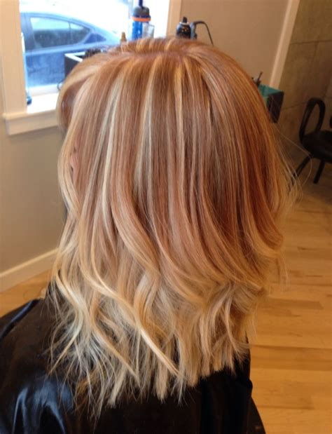 strawberryblond on bottom blond on top strawberry blonde hair with platinum highlights on top and