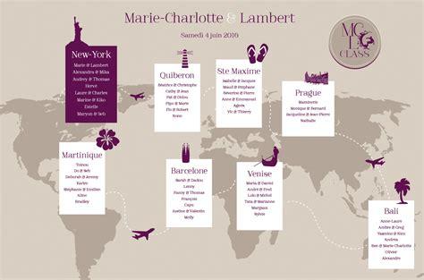 plan de table en plan de table mariage voyage monde l atelier d elsa faire part
