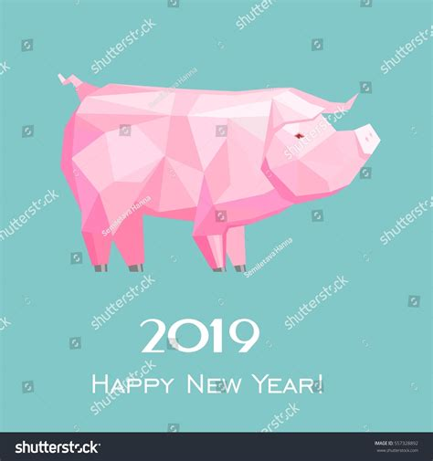 new year animal 2019 2019 happy new year greeting card stock vector 557328892