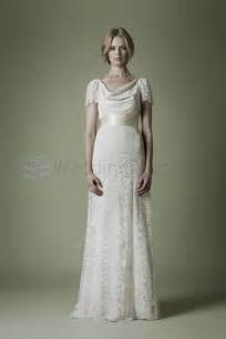 Cowl neckline vintage wedding dress lft01 uk wedding dresses shop