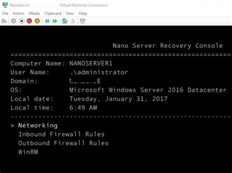 recovery console remote management in windows nano server 2016 windows os hub