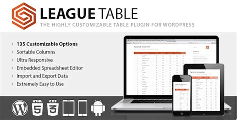 League 3 Table 5 Powerful And Mobile Responsive Table Plugins For