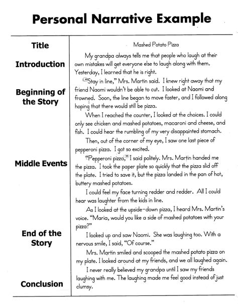 Exles Of Personal Narrative Essay help improve your child s reading and writing how to write a personal narrative essay for 4th