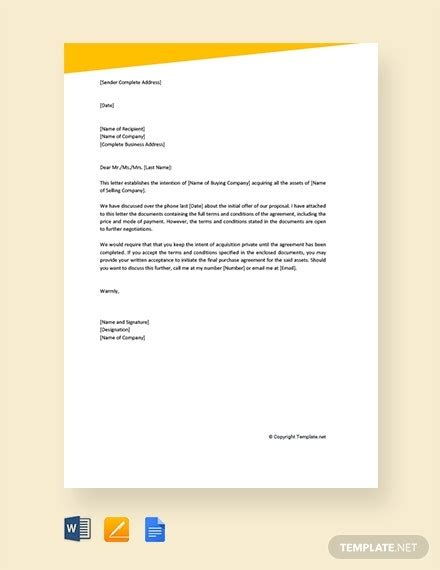letter intent purchase templates google docs ms
