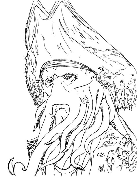 9 images of davy jones pirates of the caribbean coloring