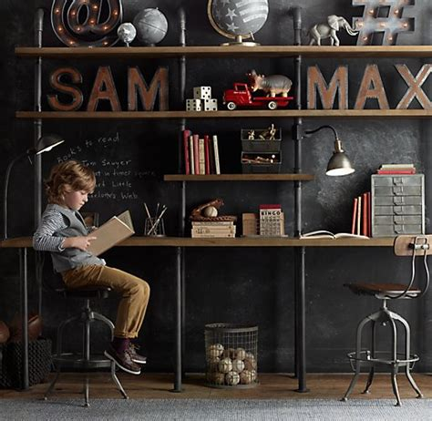 industrial shelves for a boy s room beneath my heart industrial pipe double desk with shelving