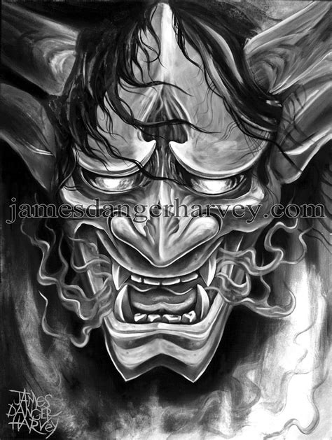 japanese devil mask tattoo designs oni hannya japanese by jamesdangerharvey on