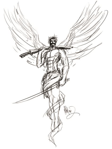 male angel tattoos with sword design