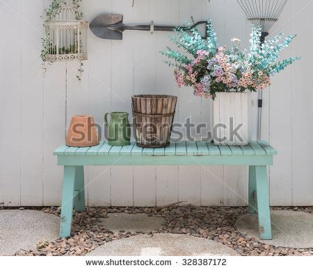 green bench flowers classic chair style vintage room white stock photo