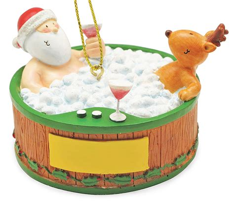 bathtub christmas ornament santa and reindeer relaxing in hot tub christmas holiday ornament ebay