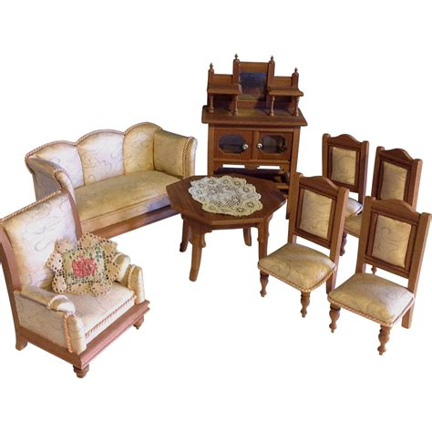 doll house salon silk blond wood doll house salon furniture german 1910 from arabellesantiques on