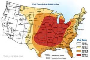 fema severe wind zone and tornado alley map