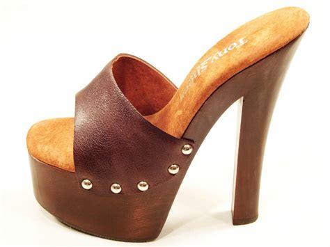 wood high heels tony shoes brown high heel wood platform slip on
