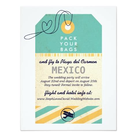 destination wedding save the date text luggage tag airmail destination wedding save date paper invitation card